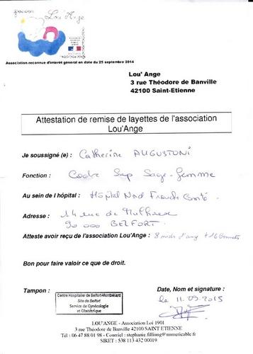 attestation Lou`Ange 2015 Montbéliard