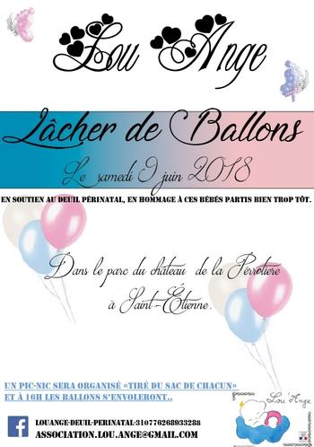 lou`ange st etienne lacher de ballons deuil périnatal layette soutien hopital