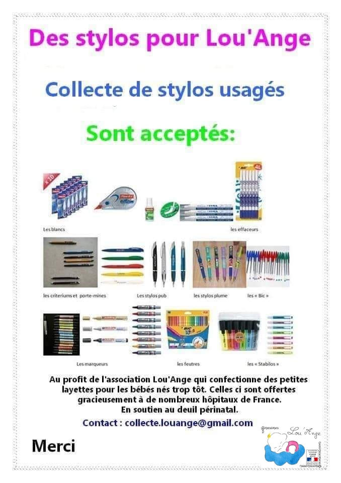 Lou`Ange collecte stylos usagés TerraCycle recyclage BIC deuil périnatal