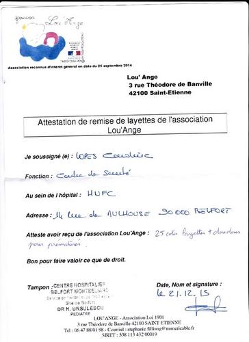 livraison 2015 Belfort layettes anges