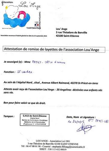attestation CHU St Etienne 2015 Lou`ange association livraison layettes