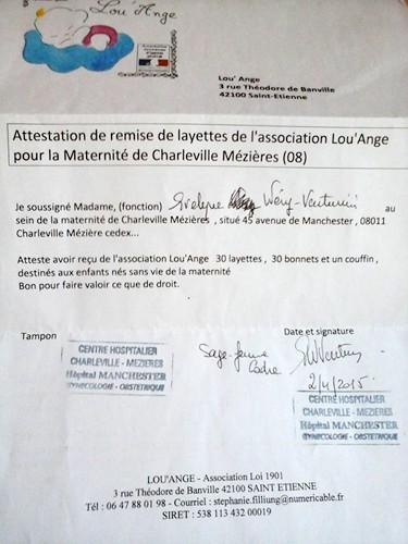 Attestation Charleville Mezieres Lou`Ange 2015