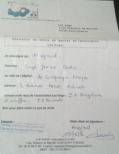 Compiegne 19 mai 2016 livraison Lou`Ange layettes hopital