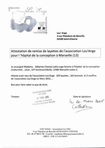 attestation Conception Marseille Lou`Ange layettes