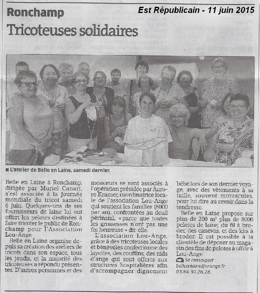 Atelier Belle en Laine Ronchamp journée mondiale tricot