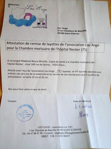Lou`Ange attestation Necker 03/04/2015 Chambre Mortuaire