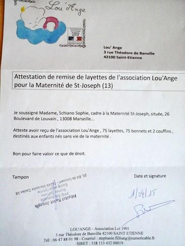 Lou`Ange attestation St Joseph 01/04/2015 Marseille